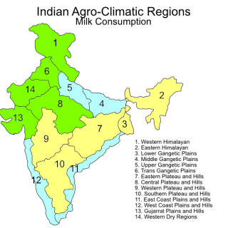 Indian agroclimatic zones – milk  consumption