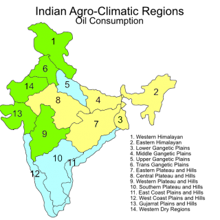 Indian agroclimatic zones – oil consumption